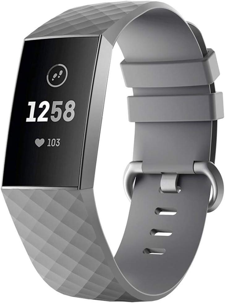 Silikon RALC Ersatz-Armband f/ür Fitbit Charge 3 Diamant-Armband H10