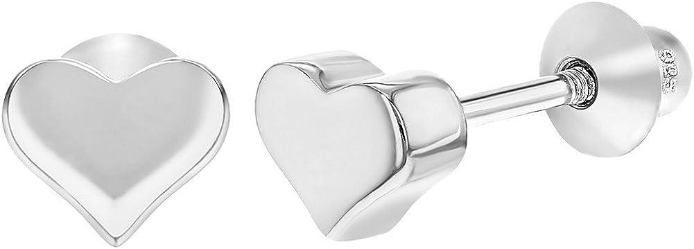 Pendientes de tuerca de plata de ley 925 con forma de corazón pequeños, también aptos para bebés