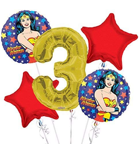 Wonder Women Balloon Bouquet 3rd Birthday 5 pcs