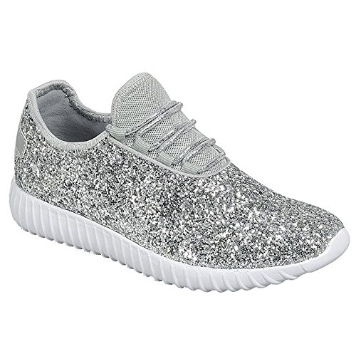 (Link Lace up Rock Glitter Fashion Sneaker for Children/Girl/Kids Silver)