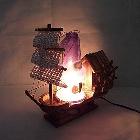 Barco a Vela de madera Camera de cama mesa lámpara mesa de ...