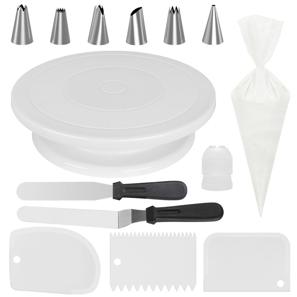 Kootek All-In-One Cake Decorating Supplies with Revolving Cake Turntable, 6 Cake Decorating Tips, 2 Icing Spatula, 3 Icing Smoother, 50 Disposable Pastry Bags and 1 Coupler Frosting Tool Baking Set