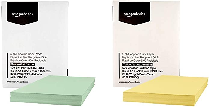 Amazon.com: AmazonBasics - Papel de color 50% reciclado ...