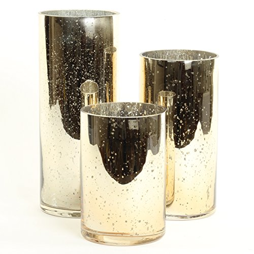 Koyal Wholesale Mercury Glass Cylinder Vases Set of 3 for Flowers, Floating Candles, Centerpiece Wedding Decor (Gold)