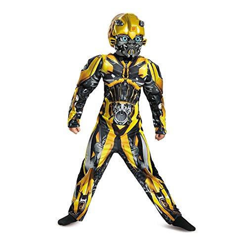 Costume Transformers Kid (Disguise Bumblebee Movie Classic Muscle Costume, Yellow, Small)