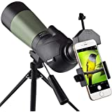 Gosky 20-60x60 HD Spotting Scope Tripod, Carrying Bag Scope Phone Adapter - BAK4 45 Degree Angled Eyepiece Telescope Target Shooting Hunting Bird Watching Wildlife Scenery