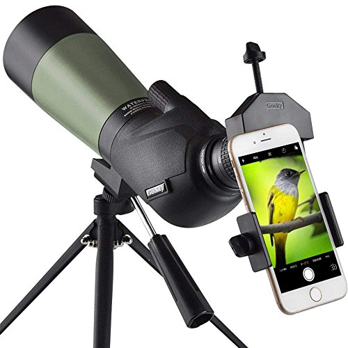 Gosky 20-60x60 HD Spotting Scope with Tripod, Carrying Bag and Scope Phone Adapter - BAK4 45 Degree Angled Eyepiece Telescope for Target Shooting Hunting Bird Watching Wildlife Scenery from Gosky