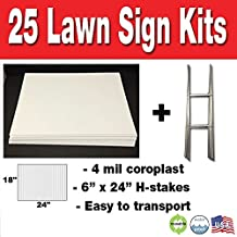 Box of 25 Blank Yard Signs 18x24 with H-Stakes for Graduations, Political Parties, Businesses, or Garage Sales