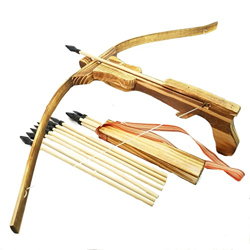 Adventure Awaits! - Handmade Wood Toy Crossbow Set - 10 Wood Arrows and a Quiver - for Outdoor Play]()
