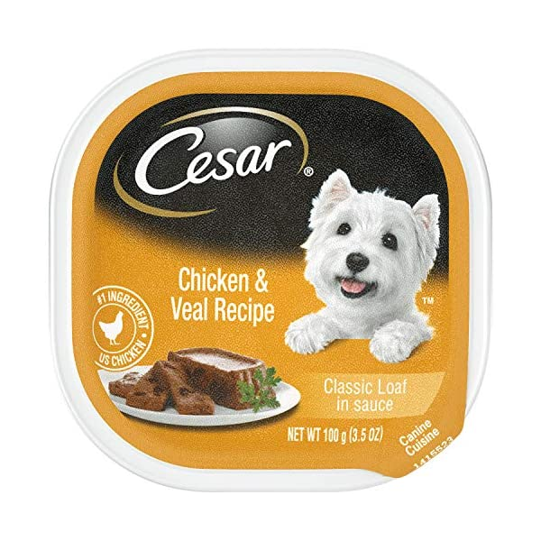 CESAR Soft Wet Dog Food Classic Loaf in Sauce Chicken & Veal Recipe, (24) 3.5 oz. Easy Peel Trays