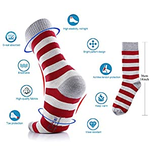 MuddyWay Mens Dress Socks - Cotton Colorful Patterned Crew Socks(6 Pack) …