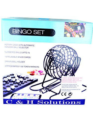 C&H Solutions Big Cage Deluxe Bingo Set, Complete Bingo Game Set, Rotary Cage With Automatic Bingo Set (Automatic Bingo)