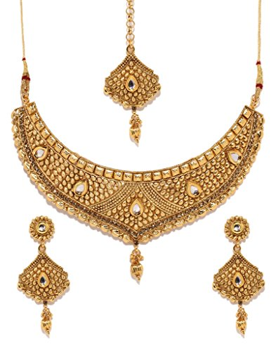 Bindhani Indian Bollywood Gold Plated Kundan Bridal Wedding Necklace