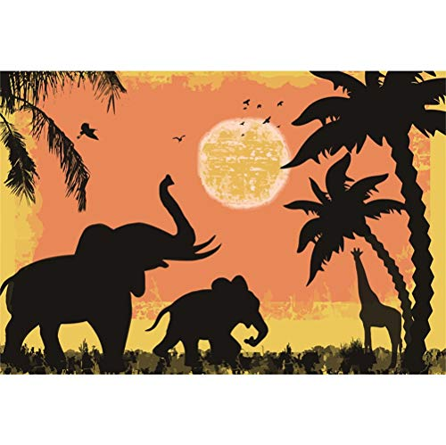 Laeacco Cartoon Zoo Vinyl Photography Background 5x3ft Elephants Giraffe Coconut Palms Sketch Sun Flying Birds Baby Birthday Backdrop Kid's Room Wallpaper Baby Shower Environment Protect