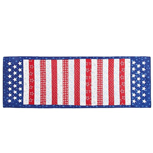 - Nantucket Home Patriotic Stars and Stripes Applique Cotton Blend Table Runner
