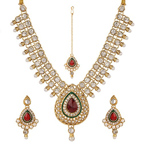 (Efulgenz Indian Bollywood Traditional White Red Green Rhinestone Faux Ruby Emerald Heavy Bridal Designer Jewelry Necklace Set in Antique 18K Gold Tone for Women and Girls)