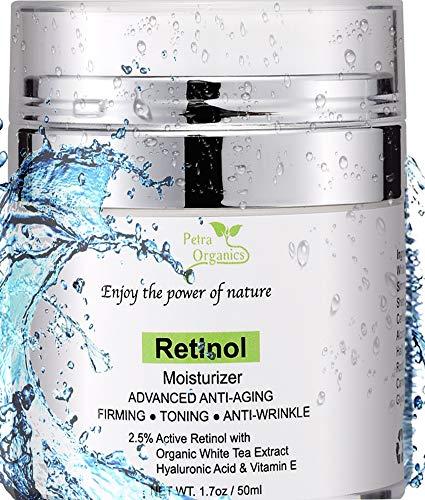 Petra Organics Retinol Cream for Face and Eye Area - with Retinol, Hyaluronic Acid, Shea Butter & Vitamin E - Advanced Anti Aging Cream