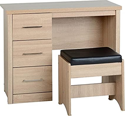 Lisbon 3 Drawer Dressing Table Set In Light Oak Effect Veneer Black Faux Leather Amazon Co Uk Kitchen Home