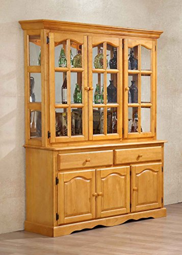 - Sunset Trading DLU-22-BUFHUT-LO Treasure Buffet and Lighted Hutch, Oak Finish