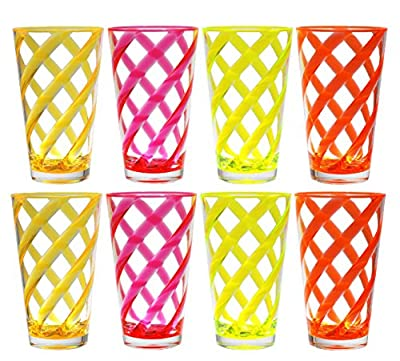 QG Set of 8 Acrylic 22-Ounce Iced Tea Cup Neon Color Twist Stripes w/ Clear Heavy Base Plastic Tumbler Set in 4 Assorted Colors