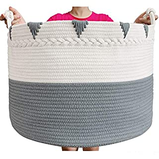 TerriTrophy XXXXLarge Cotton Rope Blanket Basket 22in x 22in x 16in Woven Laundry Hamper Laundry Baskets Storage Basket for Towel, Toys, Diaper, Laundry Basket