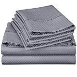 4 Piece Deep Pocket 1800 Series Bed Sheet Set Comfortable, Breathable, Soft & Extremely Durable Quality Platinum Bedding Set, Sheet & Pillow Case by Lux Decor Checkered Collection (Queen ,Grey)
