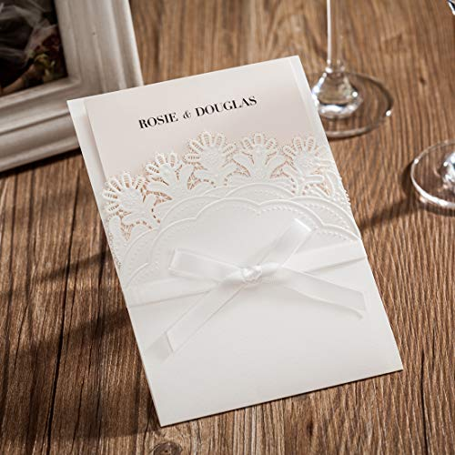 WISHMADE 50 White Pocket Laser Cut Invitations with RSVP Card Party Favors, Printable Invites with Envelopes, for Wedding Birthday Engagement Graduations Baby Shower CW6083 (Diy Wedding Invites)