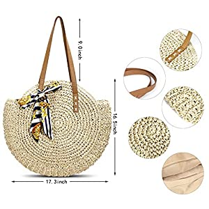 Beach Straw Bag Round Woven Zippered Shoulder Bag Large Circle Tote Crossbody Bags for Women Vacation and Daily Use