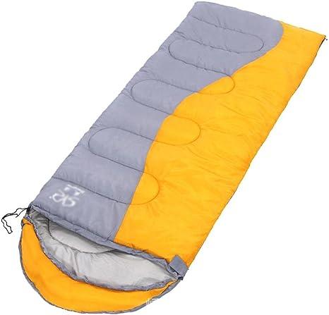 Envelope saco de dormir con el hueco del algodón amarillo y gris para acampar al aire libre: Amazon.es: Deportes y aire libre