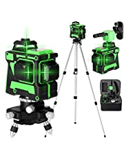 Decdeal Multifunctional 3D 12 Lines Self-leveling Laser Level with 1.5M 3 Heights Adjustable Alloy Extension Bar Tripod Stand and Carrying Bag