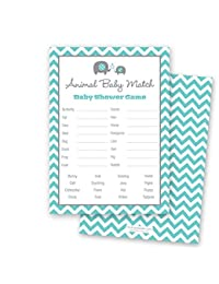 24 Chevron Elephant Baby Shower Animal Name Game Cards (Teal) BOBEBE Online Baby Store From New York to Miami and Los Angeles