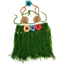 BESTOYARD Crochet Newborn Photography Props Outfits Baby Girls Hawaiian Grass Hula Skirt Costume Set Of 3