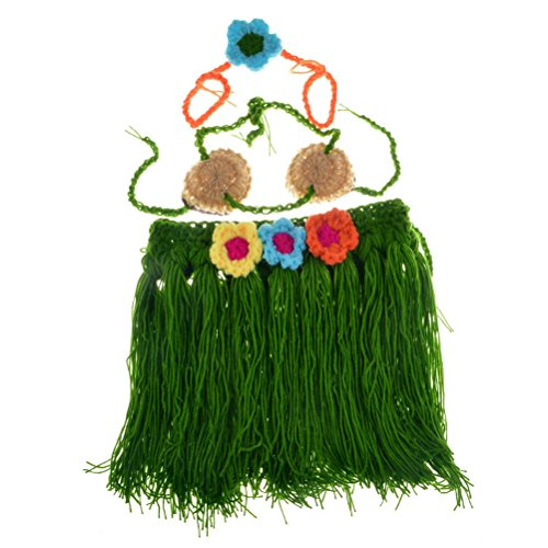 BESTOYARD Crochet Newborn Photography Props Outfits Baby Girls Hawaiian Grass Hula Skirt Costume Set Of (E Themed Costumes)