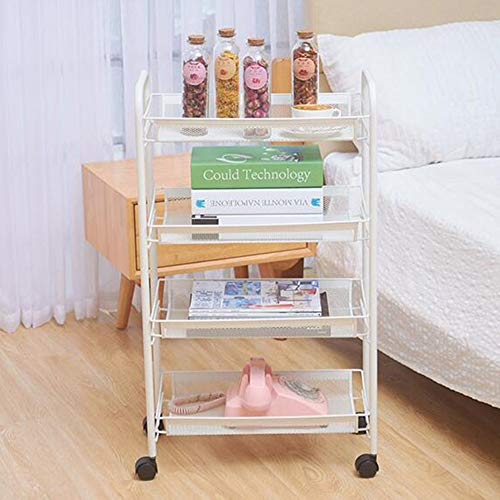QY Multifunction Three Or Four Floors Service Cart Metal Net Storage Scroll Cart with Basket Kitchen Bathroom Family Office (Color : A White)