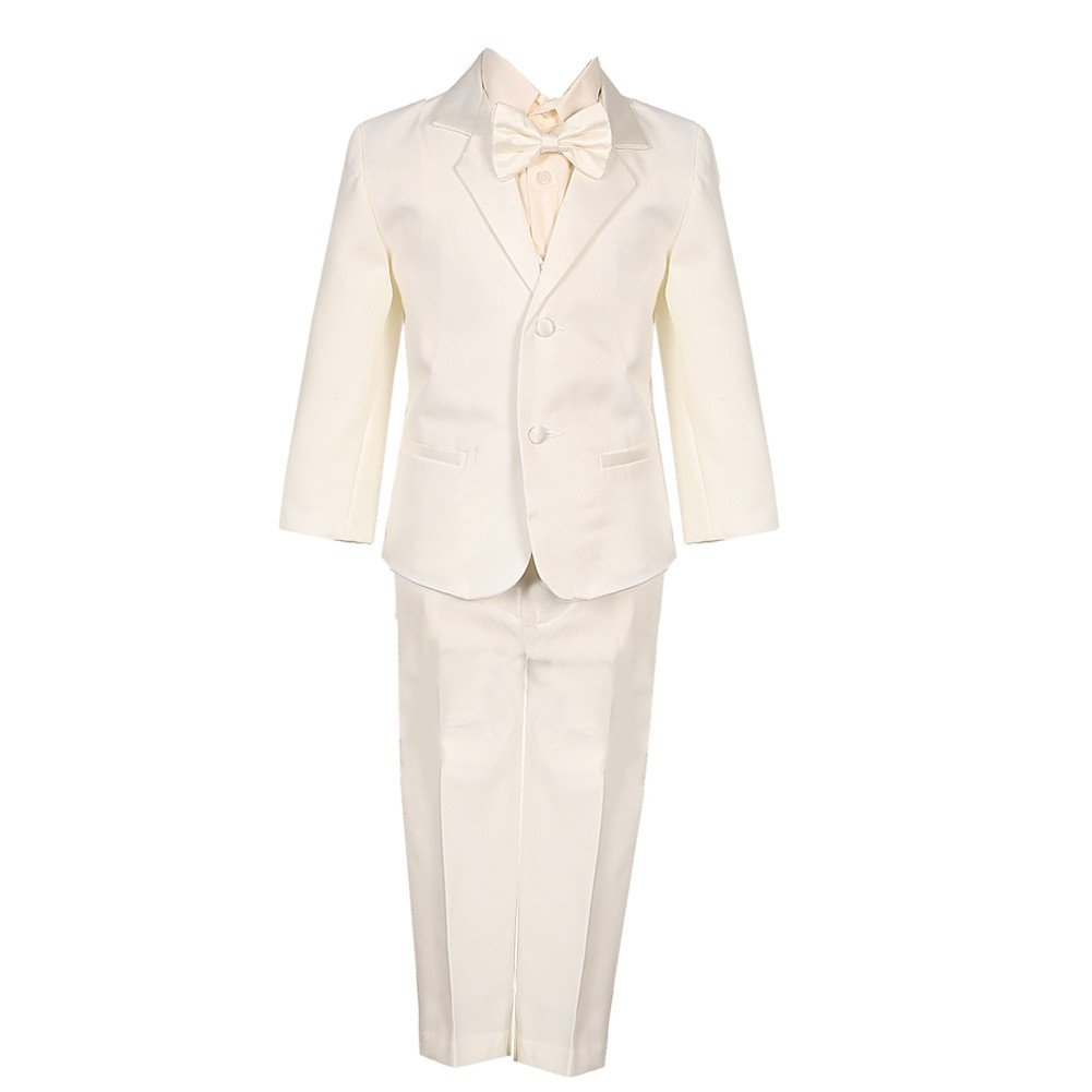 Little Boys Ivory 5 Piece Vest Jacket Pants Special Occasion Tuxedo Suit 2-7 Rafael Collection