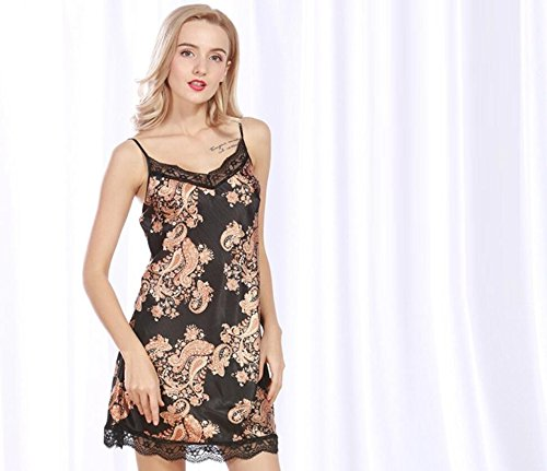 ZC&J La nueva primavera y el verano de seda pijamas chándal Sra camisón de la falda / baño,black,one size Black