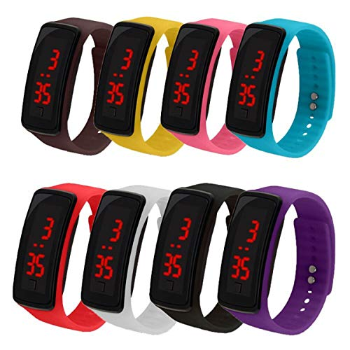 CdyBox 8 Pack Wholesale Men Women Kids Digital Wristwatch Touch Screen LED Bracelet Silicone Band Watch