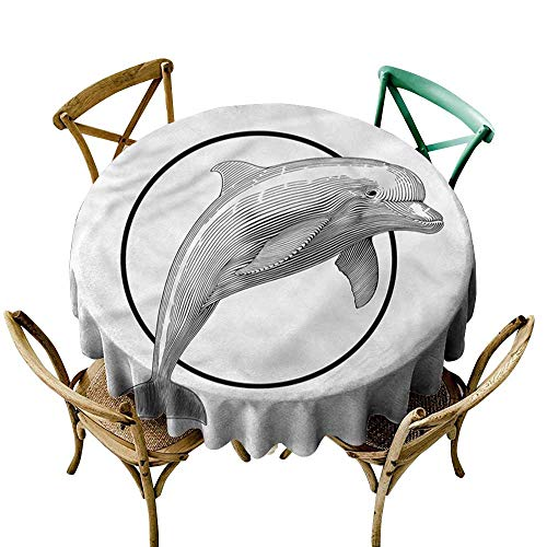 HeKua Nautical,Tablecloth Round Jumping Dolphin and Ring D 60