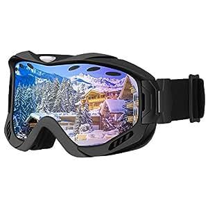 Gafas de Snowboard, OMorc Gafas de Esquí con Antiniebla Lente de Doble Capa, 100% UV400 Protección,Lligero, Cómodo y Respirable-Azul