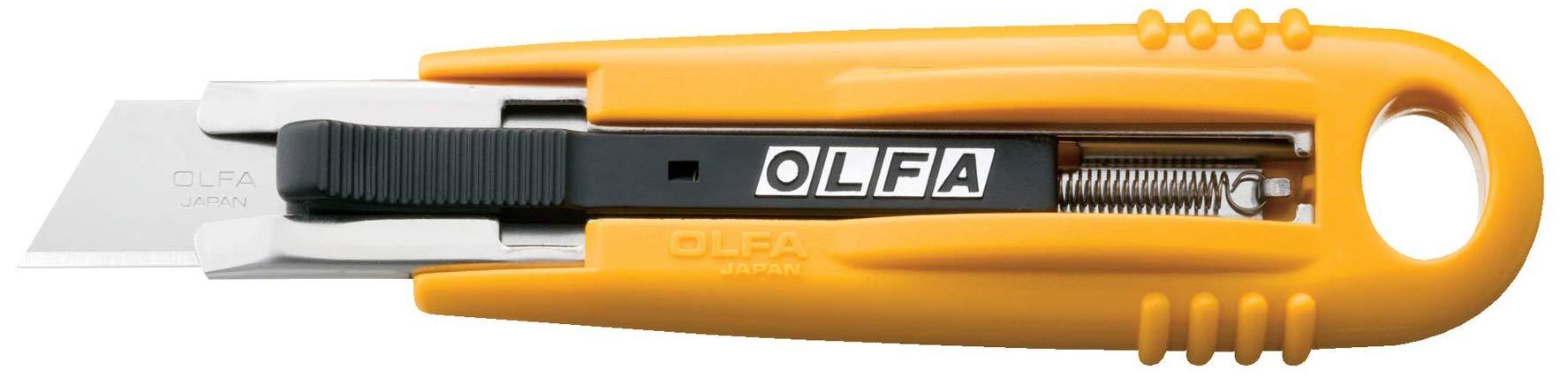 OLFA 9048 SK-4 Cuchillo de seguridad autorretráctil semiautomático, estándar, amarillo