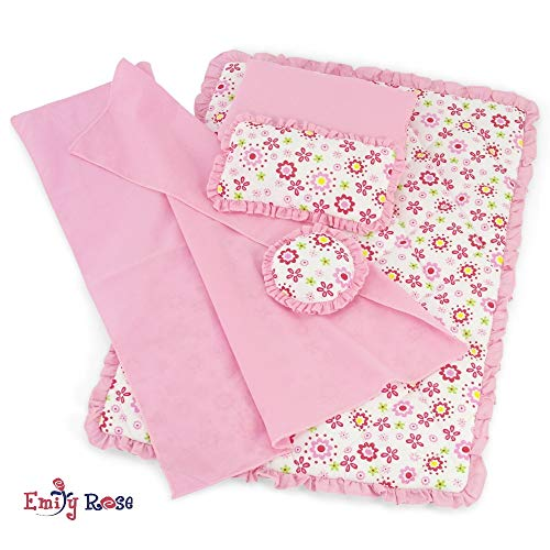 Emily Rose 18 Inch Doll Clothes Accessories for American Girl Dolls | Reversible Floral Print Doll Bedding 5 Piece Set | Fits 18