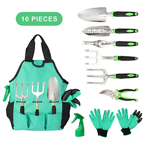 Garden Tools Set 10 Pieces, Gardening Kit with Heavy Duty Aluminum Hand Tool and Digging Claw Gardening Gloves, Vegetable Herb Garden Hand Tool, Outdoor Tools Set Gifts for Men Women by Aladom (Gardening Of Tools)