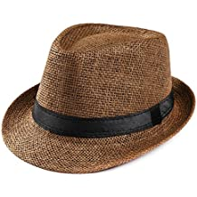Summer Crushable & Packable Straw Fedora Hat, Unisex Gangster Cap Beach Sun Straw Hat Band Sunhat