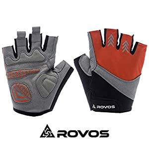 Outdoor Biking Gloves Half Finger Biking Gloves Men (Orange,Small)