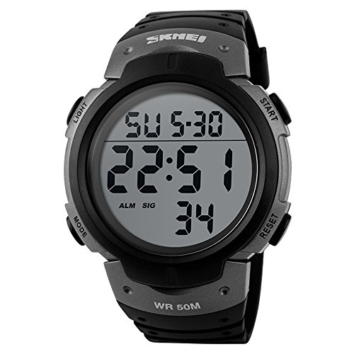Men's Sport Watch Multifunctional Military Waterproof Big Numbers Led Display Digital Casual Business Watch - - Spice Sporty Outfit