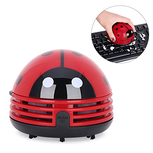 Yesurprise Portable Mini Car Laptop Keyboard Desktop Handheld Vacuum Cleaner Adorable Cartoon Beetle Ladybug Dust Crumb Sweeper Red ()