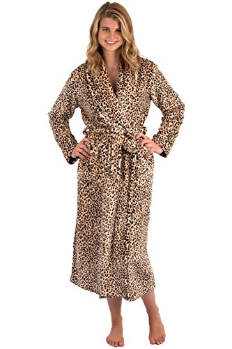 VEAMI Women's Aspen Ultra-Soft Plush Warm Fleece Bathrobe-Leopard Rosette-Large, Long