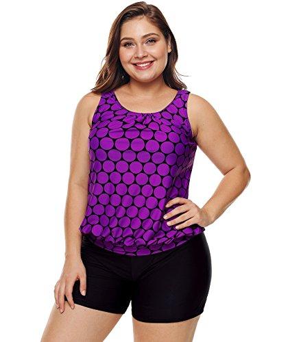 Lalagen Womens Plus Size Racerback Tankini Set Two Piece Swimwear with Boyshort Purple XXXL by Lalagen (Image #1)