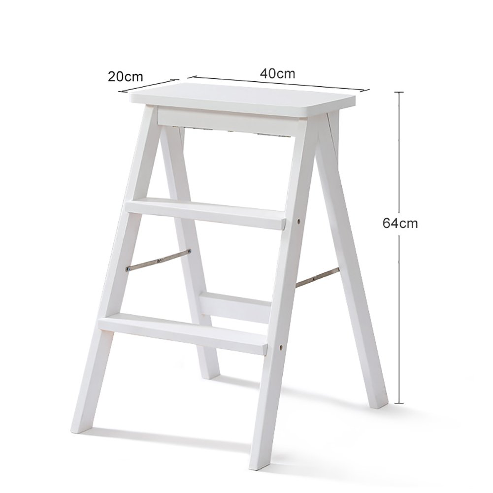 MS White Solid Wood Step Stool Ladder For Adults Wooden Kitchen Stepladder Portable Fold Up Footstool Multifunction Small Stool Bench @ (Color : #1) by MS