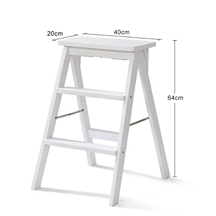 Amazon.com: MS White Solid Wood Step Stool Ladder For Adults Wooden ...